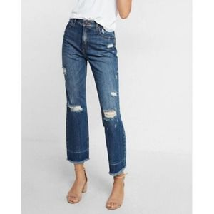 Express Straight High Rise Distressed Jeans 00